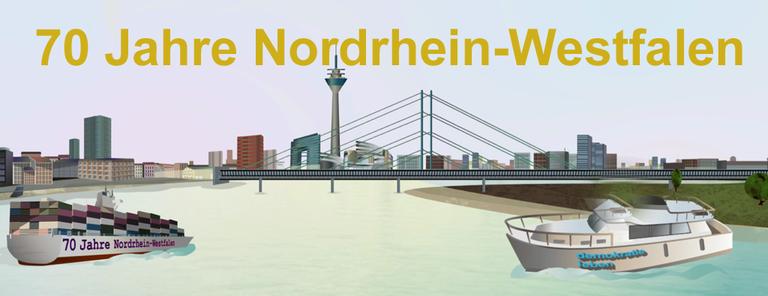 Header Grafik für 70 Jahre NRW mit Skyline von Düsseldorf